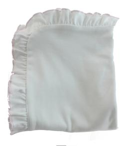 NWT Magnolia Baby White Pima Blanket Pink Ruffle