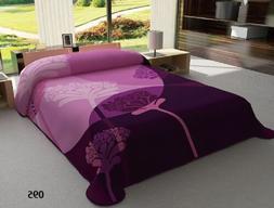 One Ply Burgundy Beige Flower  Soft Mink Queen Size Blanket