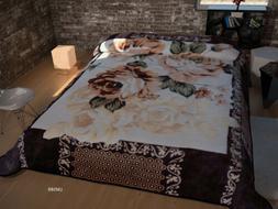 One Ply Floral  Brown Beige Soft Mink King Size Blanket New