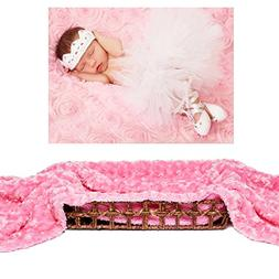 Organic Baby Swaddle Blanket 3D Rose Flower 40 x 30 Inch New