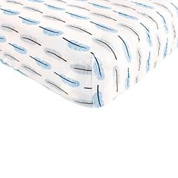 Touched by Nature Organic Cotton Fitted Crib Sheet, Blue Fea
