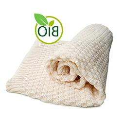 SonnenStrick 100% Organic Cotton Knitted Baby Blanket Made i