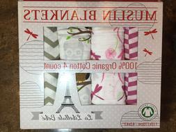 New 4pk 100% Organic Cotton Muslin Baby Blanket by La Libell