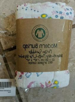 Organic Cotton Modern Burlap Muslin Baby Swaddle Blanket Flo