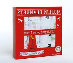 4 PACK!!! Organic Cotton Premium Muslin Blanket by La Libell