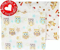 100% Organic Cotton Large Soft Flannel Baby Receiving Swaddl