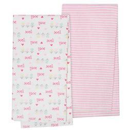 Gerber Organic Flannel Blanket, Pink Love, One Size