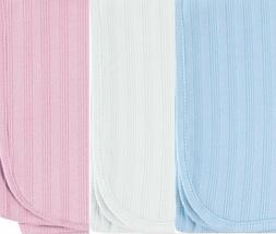 Organic Receiving//Swaddle Blanket 40x40 in.-Pink//White//Blue Touched by Nature