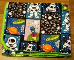 """""""Outer Space"""" Handmade Double Flannel Baby/Toddler Blanket"""