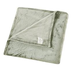 "Honeymoon Oversized Flannel Throw Blanket, 50"" x 70"", Stone"