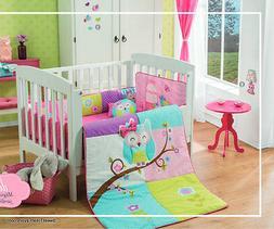 OWL Crib Bedding Set 6PC Comforter 100% COTTON Pink Baby Sho