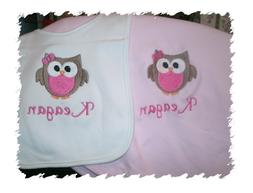 Owl Personalized Baby Toddler Blanket Cute Girl Owl Bib & Bl