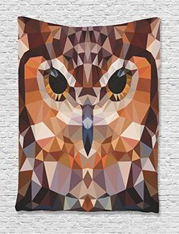 Ambesonne Owl Tapestry Geometric Decor, Mosaic Owl Head in L