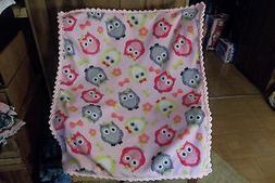 Owls Pink Fleece Baby Blanket with Crochet Edging Handmade Y