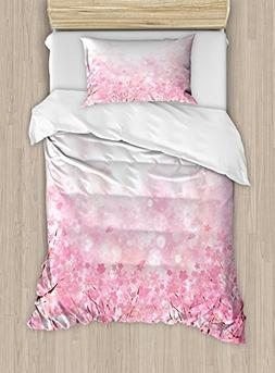 Ambesonne Pale Pink Duvet Cover Set Twin Size, Japanese Cher