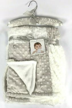 BLANKETS & BEYOND Patchwork Baby Blanket White Rosettes Tan