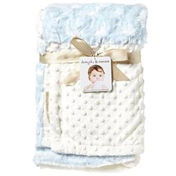 Blankets & Beyond Patchwork Blue Swirl Ivory Dots Baby Blank