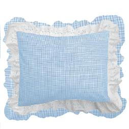 bkb Gingham Patchwork Pillow Sham, Light Blue Gingham