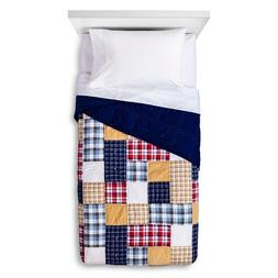 New Patchwork Plaid Quilt - Red & Blue TWIN