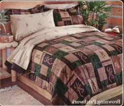 Browning Patchwork Queen Comforter Set w/sheets 7pcs Deer Bu