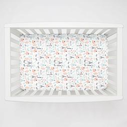 Carousel Designs Peach Brave Fox Mini Crib Sheet 5-Inch-6-In