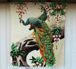 PEACOCK PEACOCKS FLOWER TREE QUEEN SIZE BLANKET