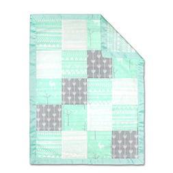 The Peanutshell Mix & Match Mint Muslin Patch Blanket