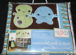 Cocalo Baby Peek-A-Boo Monsters 8 Pc Crib Nursery Set W/ FRE