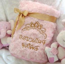 PERSONALISED BABY  BLANKET  DISNEY FONT FLUFFY ROSE BUD PINK