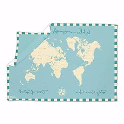 Personalised Baby Blanket Welcome to the World Map Nursery B