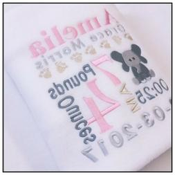 Personalised Baby/Toddler Blanket Birth Announcement Elephan