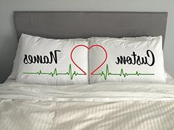 PERSONALISED HEART Cute Pillow Case Valentine Anniversary Gi