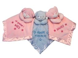 Personalised Soft Embroidered Baby Comforter Blanket Teddy B
