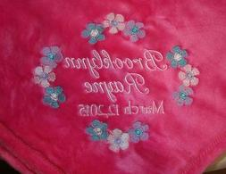Personalized Baby Blanket Embroidered Fleece Tahoe for Girl