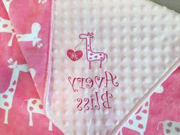 PERSONALIZED BABY BLANKET Giraffe girl baby shower gift Cudd