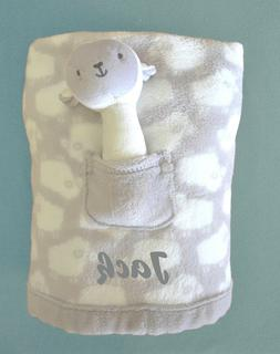 PERSONALIZED BABY BLANKET Grey Baby Sheep baby shower gift P
