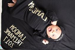 Personalized Baby Boy Black and Gold Set
