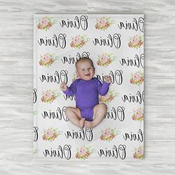 Personalized Baby Name Blanket - Floral