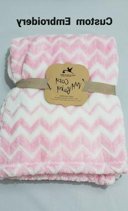 PERSONALIZED Custom Embroidered Pink Minky Baby Blanket 30x4