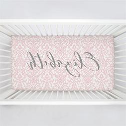 Carousel Designs Personalized Custom Pink Filigree Crib Shee