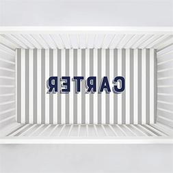 Carousel Designs Personalized Custom Silver Gray Stripe Crib