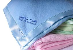Personalized Customized Baby Blanket Wide Satin Trim Light B