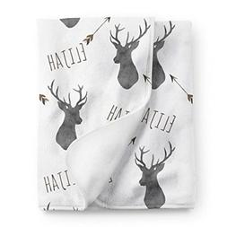 personalized deer fleece baby boys blanket charcoal