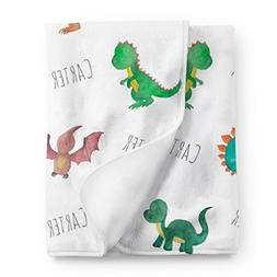 Personalized Dinosaur Fleece Baby Blanket