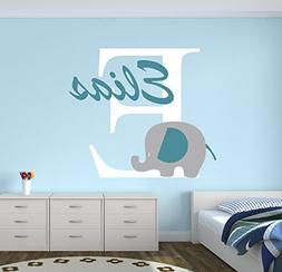 Personalized Elephant Name Wall Decal - Elephant Room Decor