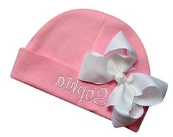 c6763522705 Personalized Embroidered Baby Girl Hat with Grosgrain Bow wi