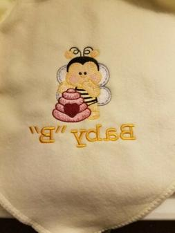Personalized Embroidery Baby Fleece Blanket with a Bumble Be