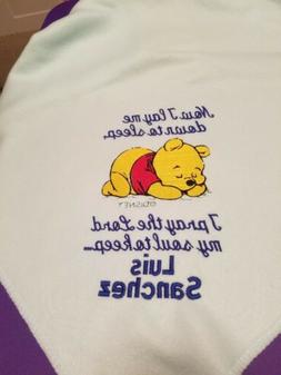 Personalized Embroidery Fleece Baby Blanket With Pooh Bear A