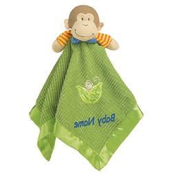 Personalized Mango Monkey Blanket & Toy - 17 Inch - Blue Emb