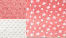 Personalized Minky Baby Blanket Coral Flowers/Stroller Blank